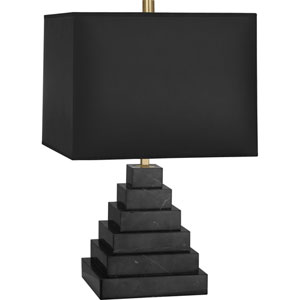 Hatton One-Light Black Marble Table Lamp with Black Shade