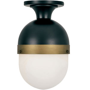 Gordon Matte Black and Textured Gold One-Light Outdoor Ceiling Mount