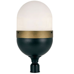 Gordon Matte Black and Textured Gold Three-Light Outdoor Lantern Post