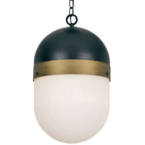 Gordon Matte Black and Textured Gold Three-Light Outdoor Pendant