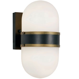 Gordon Matte Black and Textured Gold Two-Light Outdoor Wall Mount