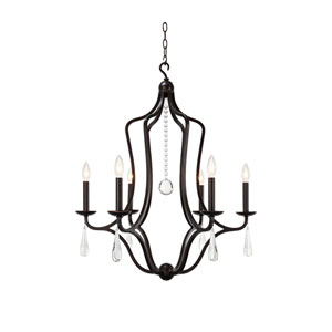 Trinity English Bronze Six-Light Chandelier