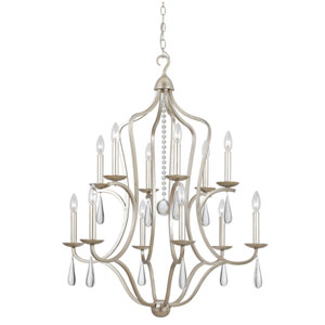Trinity Silver Leaf Twelve-Light Chandelier
