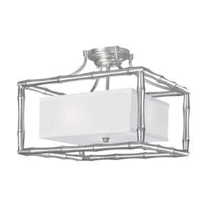 Laurel Antique Silver Three-Light Semi-Flush Mount