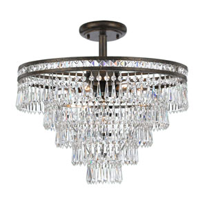 Inverness English Bronze Seven Light Hand Cut Crystal Semi-Flush Mount