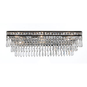 Inverness English Bronze Six Light Hand Cut Crystal Bath Fixture