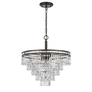 Inverness English Bronze Six Light Hand Cut Crystal Chandelier