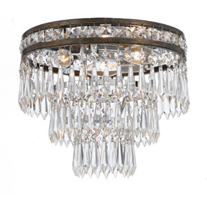 Inverness English Bronze Three Light Clear Crystal Flush Mount