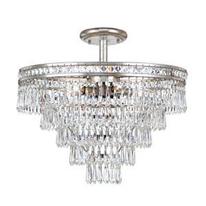 Inverness Olde Silver Seven Light Hand Cut Crystal Semi-Flush Mount