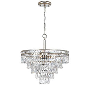 Inverness Olde Silver Six Light Hand Cut Crystal Convertible Chandelier