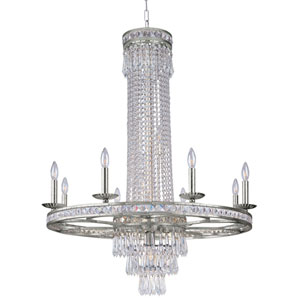 Inverness Olde Silver Twelve-Light Chandelier with Hand Polished Crystal