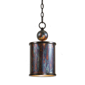 Reese Oxidized Bronze Drum Mini-Pendant