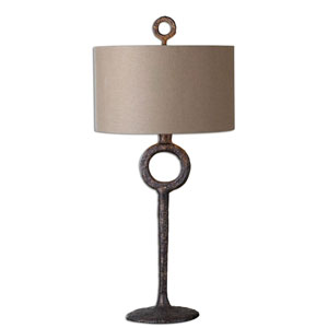 Quinton Cast Iron and Aged Rust Bronze Table Lamp