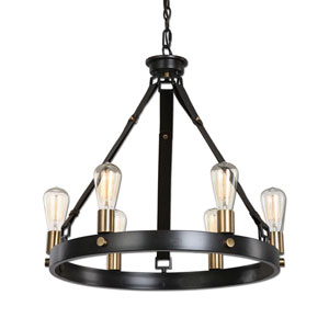 Wyatt Antique Bronze and Leather Six-Light Chandelier