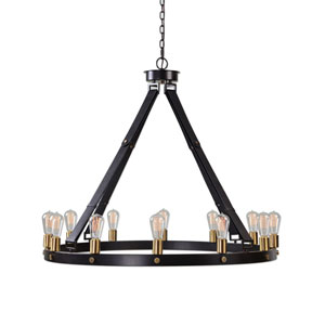 Wyatt Bronze and Leather Twelve-Light Chandelier