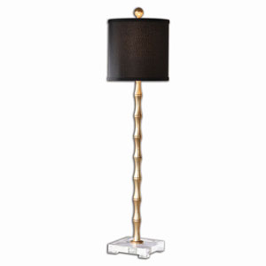 Braxton Metal Bamboo Buffet Lamp with Black Shade