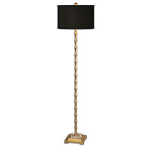 Braxton Metal Bamboo Floor Lamp with Black Shade