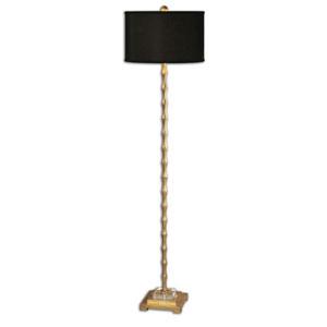 Braxton Metal Bamboo Floor Lamp with Black Shade