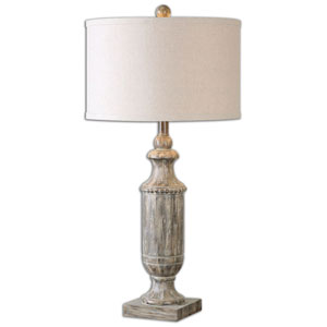 Hampton Aged Dark Pecan Wood Table Lamp