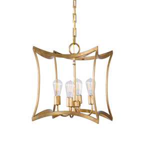 Monroe Gold Four-Light Lantern Pendant