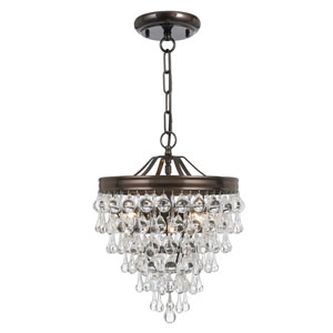 Hopewell Bronze Three-Light Chandelier with Clear Crystal