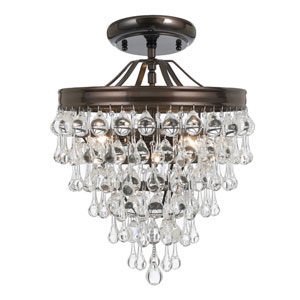 Hopewell Bronze Three-Light Semi-Flush Mount with Clear Crystal