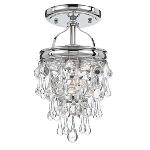 Hopewell Polished Chrome One-Light Semi-Flush Mount with Clear Crystal