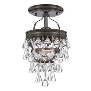 Hopewell Bronze One-Light Semi-Flush Mount with Clear Crystal