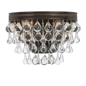 Hopewell Bronze Two-Light Wall Sconce with Clear Crystal