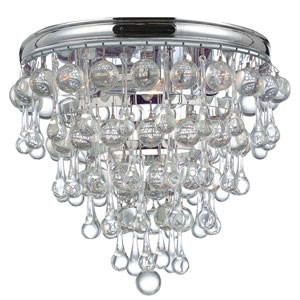 Hopewell Polished Chrome Three-Light Flush Mount with Clear Crystal