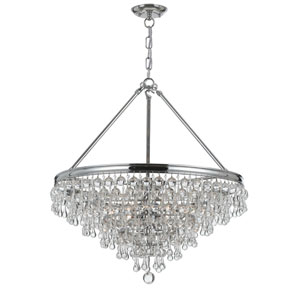 Hopewell Polished Chrome 20-Inch Six-Light Chandelier with Clear Crystal