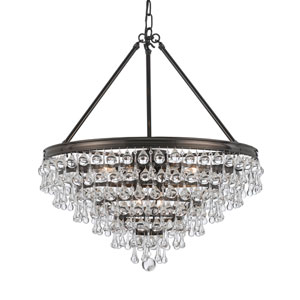 Hopewell Bronze Eight-Light Chandelier with Clear Crystal