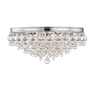 Hopewell Polished Chrome Six-Light Flush Mount with Clear Crystal