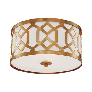 Darling Aged Brass Three-Light Drum Flush Mount