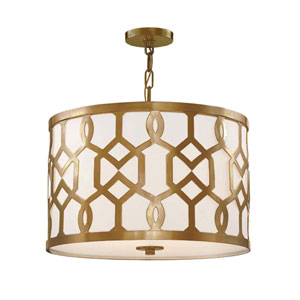 Darling Aged Brass 24-Inch Three-Light Drum Pendant