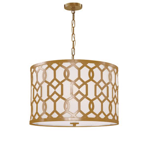 Darling Aged Brass 18-Inch Five-Light Drum Pendant