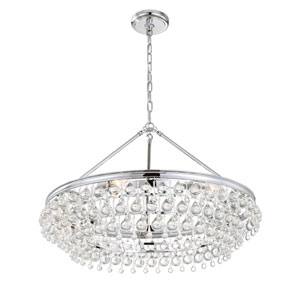 Hopewell Polished Chrome 30-Inch Six-Light Chandelier with Clear Crystal