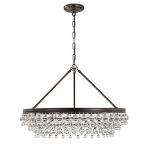 Hopewell Bronze 30-Inch Six-Light Chandelier with Clear Crystal
