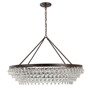 Hopewell Bronze 40-Inch Eight-Light Chandelier with Clear Crystal