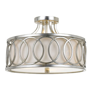 Mulberry Antique Silver Three-Light Drum Semi-Flush Mount