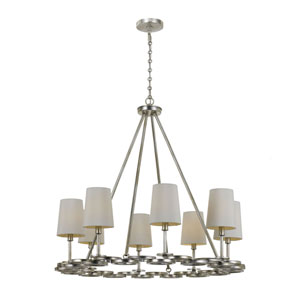 Mulberry Antique Silver Eight-Light Chandelier