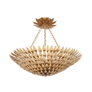 Rosemary Antique Gold Eight-Light Bowl Semi-Flush Mount
