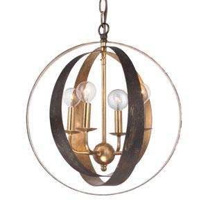 Raglan Bronze and Antique Gold Four-Light Chandelier
