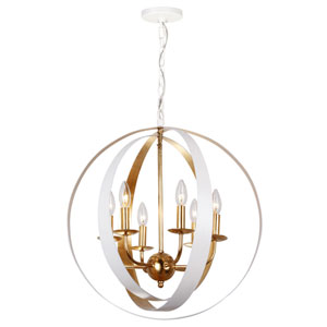 Raglan Matte White and Gold Six-Light Chandelier