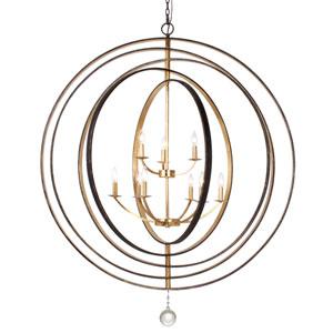 Raglan Bronze and Gold Nine-Light Chandelier