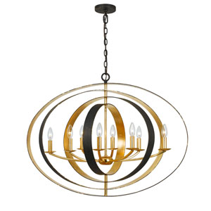 Raglan Bronze and Antique Gold Eight-Light Chandelier