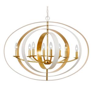 Raglan Matte White and Gold Eight-Light Chandelier