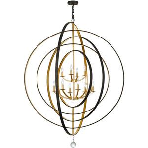 Raglan Bronze and Antique Gold Twelve-Light Chandelier