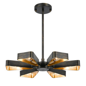 Raglan Bronze and Gold Six-Light Chandelier