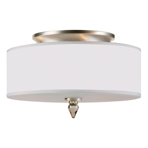 Adelaide Satin Nickel Three-Light Drum Flush Mount
